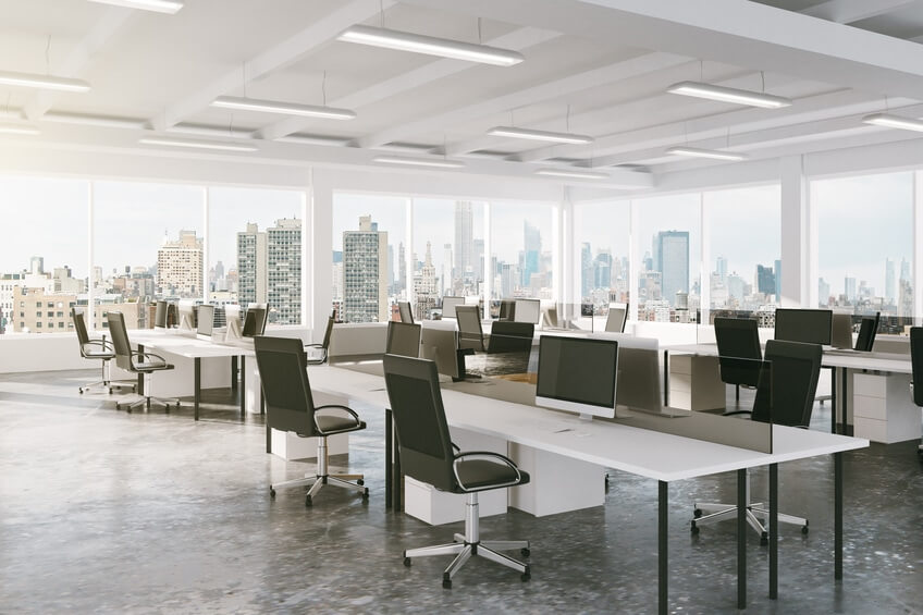 Modern open space office with city view